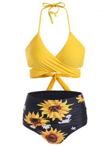 Sunflower High Waisted Ruched Wrap Bikini Swimwear - SUN YELLOW - S