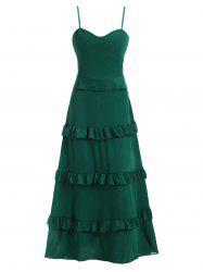 Tiered Ruffle Chiffon Padded Floor Length Cami Dress -