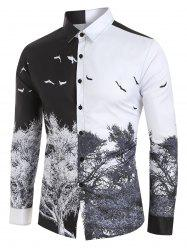 Chinese Style Tree Print Button Up Shirt -