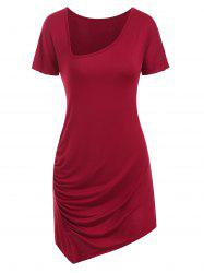 Draped V Neck Asymmetrical T-shirt -