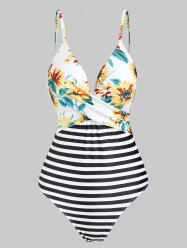 Flower Striped Crossed Cami One-piece Swimsuit -