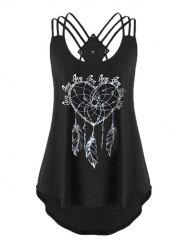 Plus Size Strappy Feather Print High Low Tank Top -