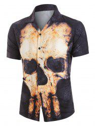 Skull Print Button Up Short Sleeve Shirt -