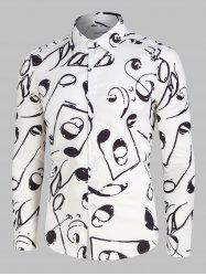 Music Notes Print Long Sleeve Shirt -