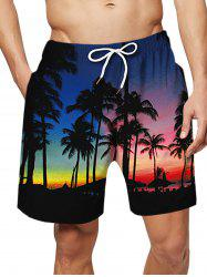 Coconut Tree Pattern Causal Board Shorts -
