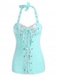 Halter Lace Up Sequin Tank Top -