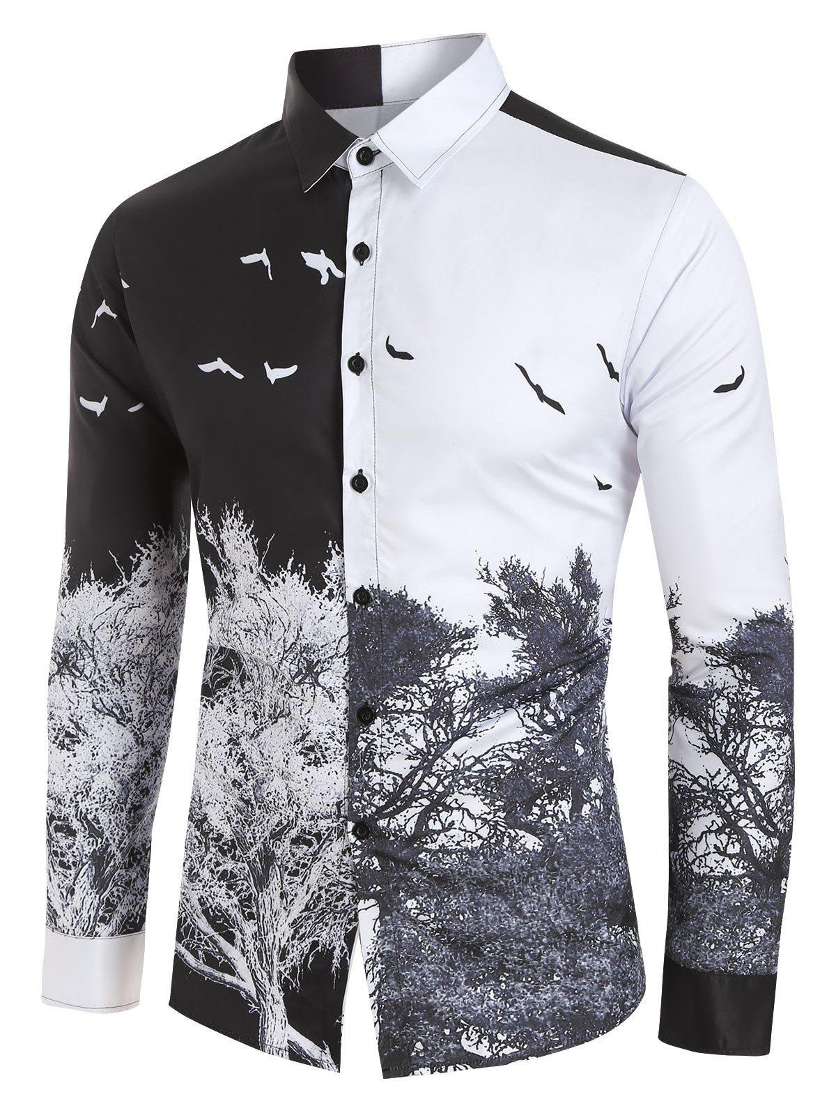 Cheap Chinese Style Tree Print Button Up Shirt