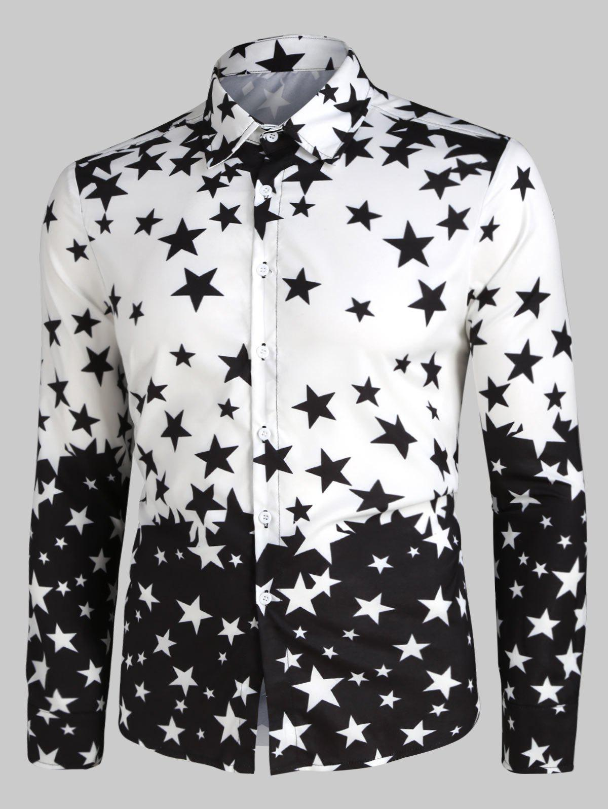 Contrast Star Print Button Up Shirt фото