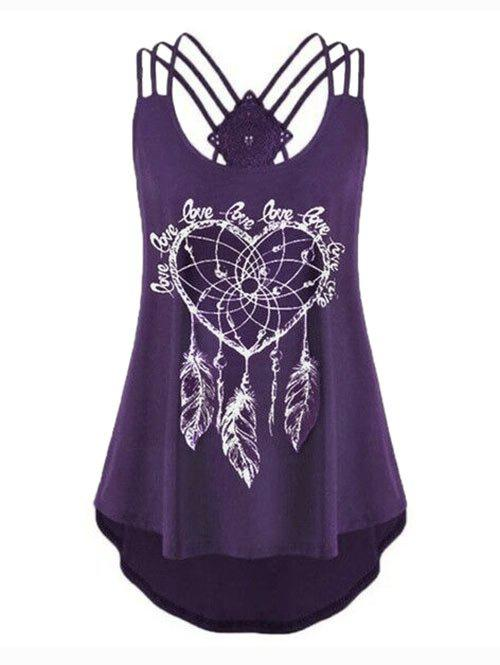 Plus Size Strappy Feather Print High Low Tank Top фото