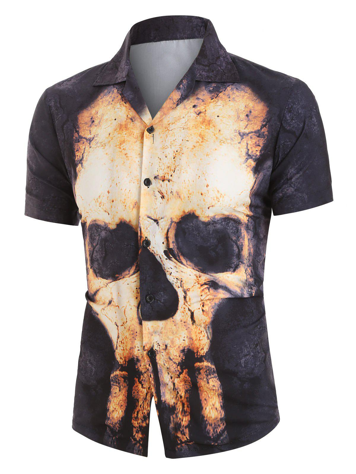 Chic Skull Print Button Up Short Sleeve Shirt