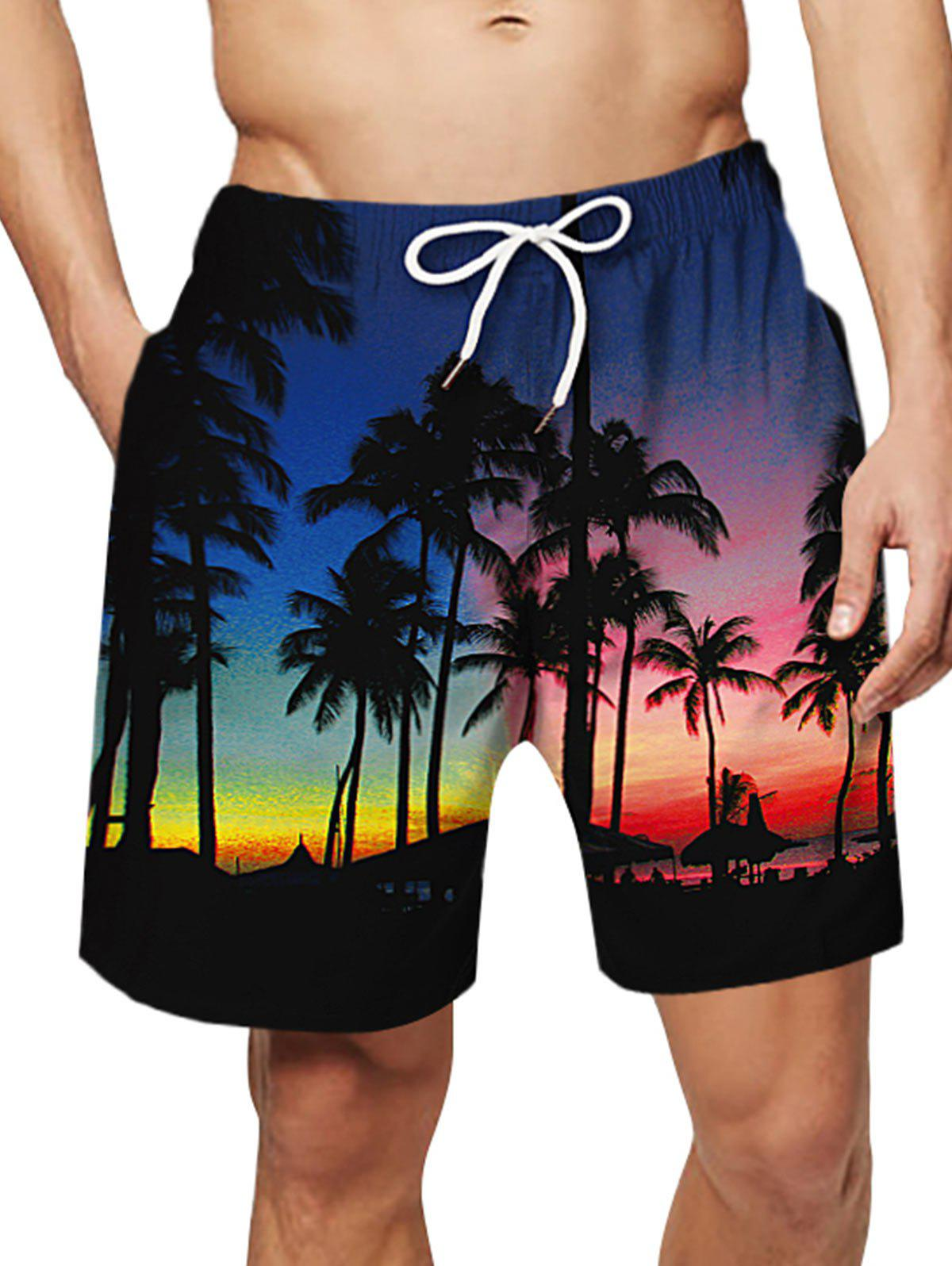 Shop Coconut Tree Pattern Causal Board Shorts