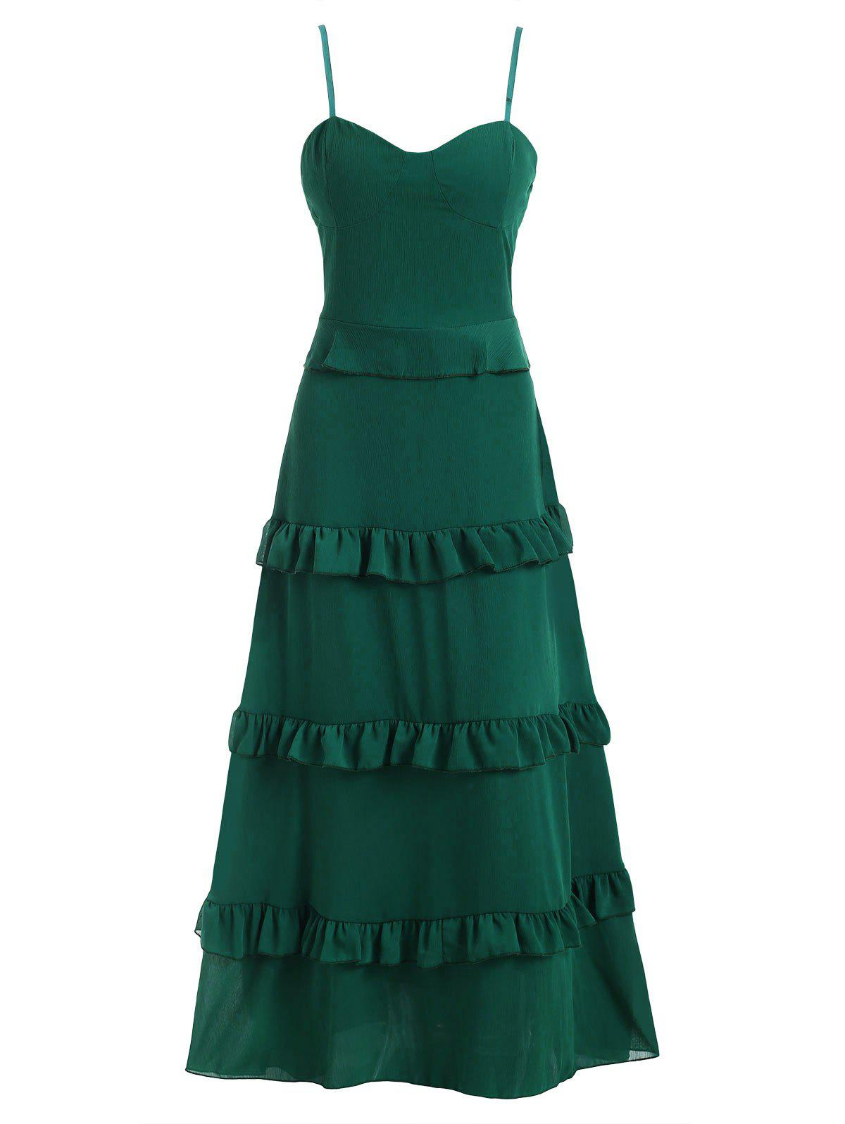 Outfit Tiered Ruffle Chiffon Padded Floor Length Cami Dress