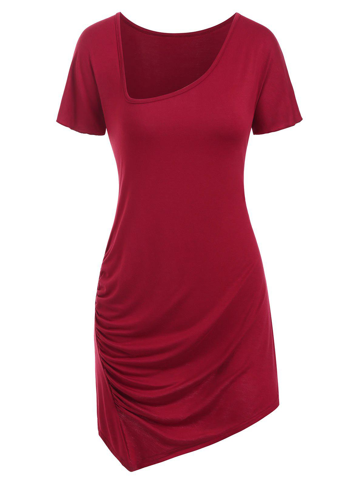 Online Draped V Neck Asymmetrical T-shirt