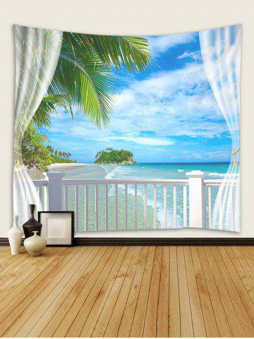 Window Beach Island Print Tapestry Wall Hanging Art Decoration, Multi
