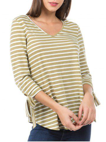Striped Print Curved Hem Knotted Sleeve T-shirt