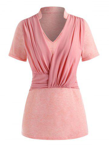 Plus Size Ruched Splicing Top - PINK - 3X