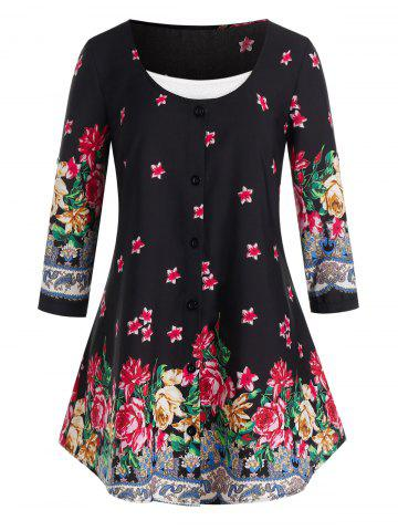 Plus Size Flower Pattern Button Blouse and Cami Tank Top