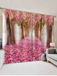 Flower Forest Print Decorative Window Curtains -