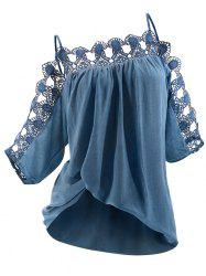 Lace Panel Three Quarter Sleeves Cami Blouse -