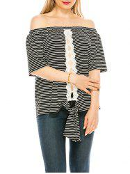 Striped Off Shoulder Hollow Out Knotted Top -