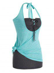 Plus Size Knotted Halter Top and Lace Up Tube Top Set -
