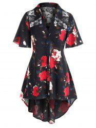 Plus Size Floral Print Lace Panel Dovetail Blouse -