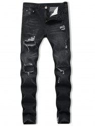 Destroyed Zipper Skinny Jeans -