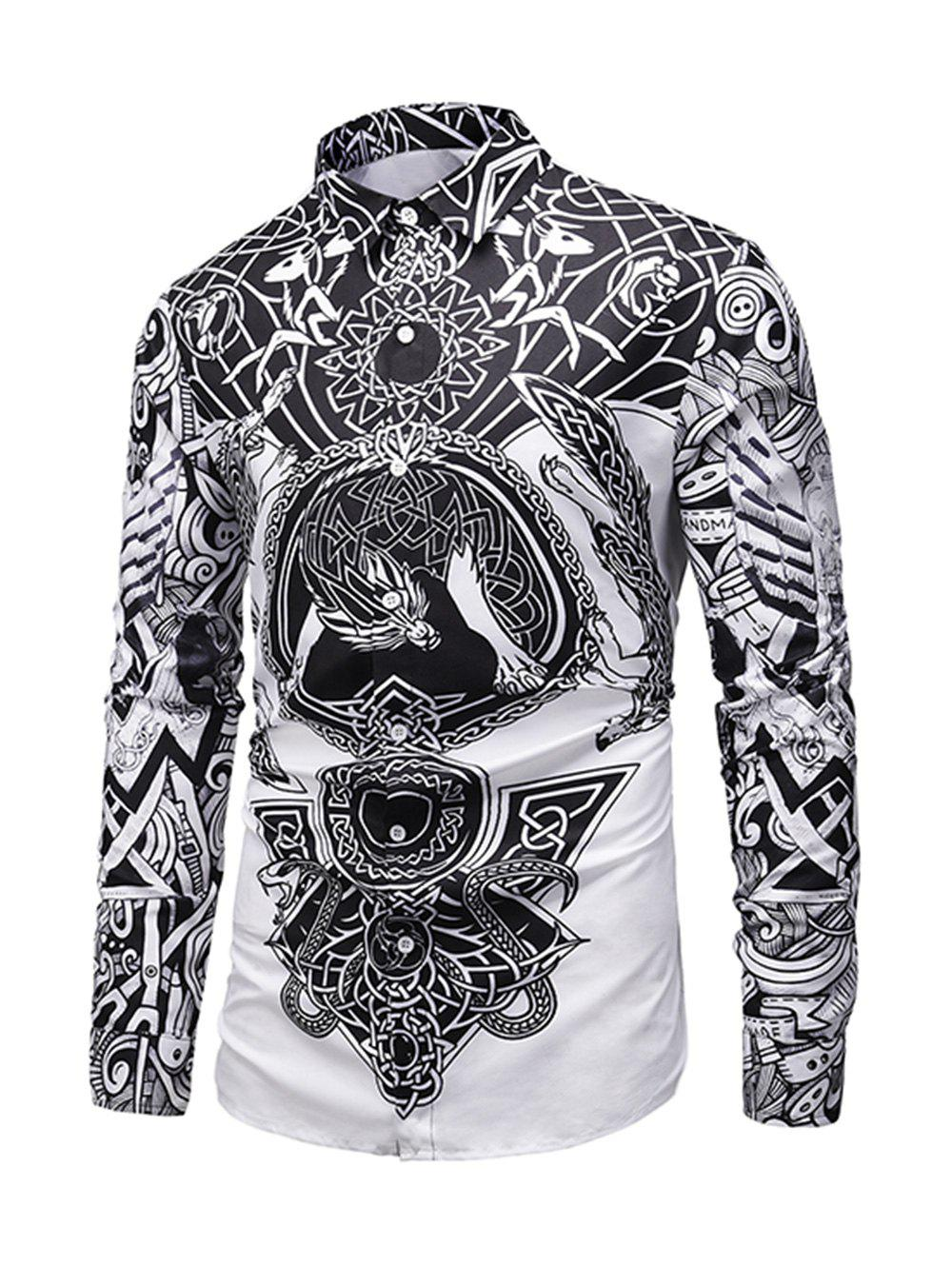 Latest Luxury Print Button Long-sleeved Shirt