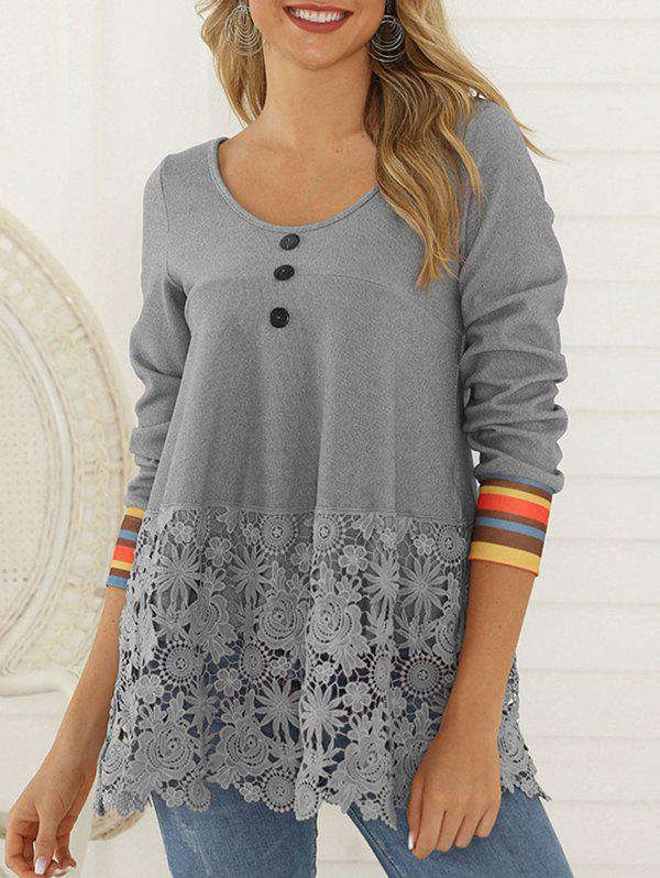 Hot Flower Lace Panel Mock Button Striped T-shirt