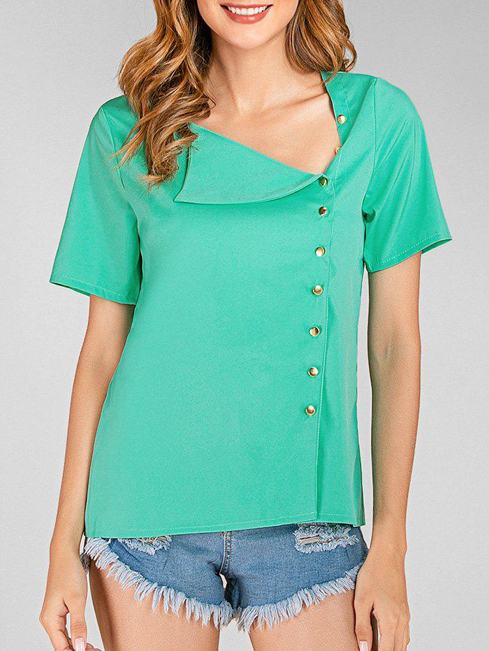 Cheap Skew Neck Short Sleeves Solid Blouse