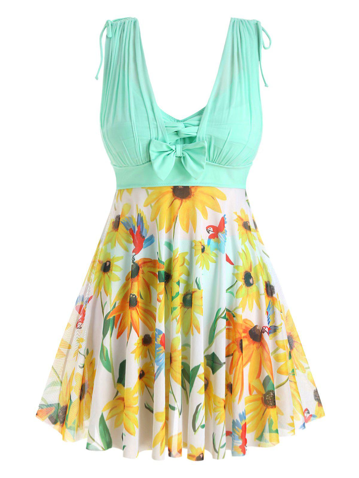 Buy Plus Size Floral Print Skirted Tankini Swimsuit