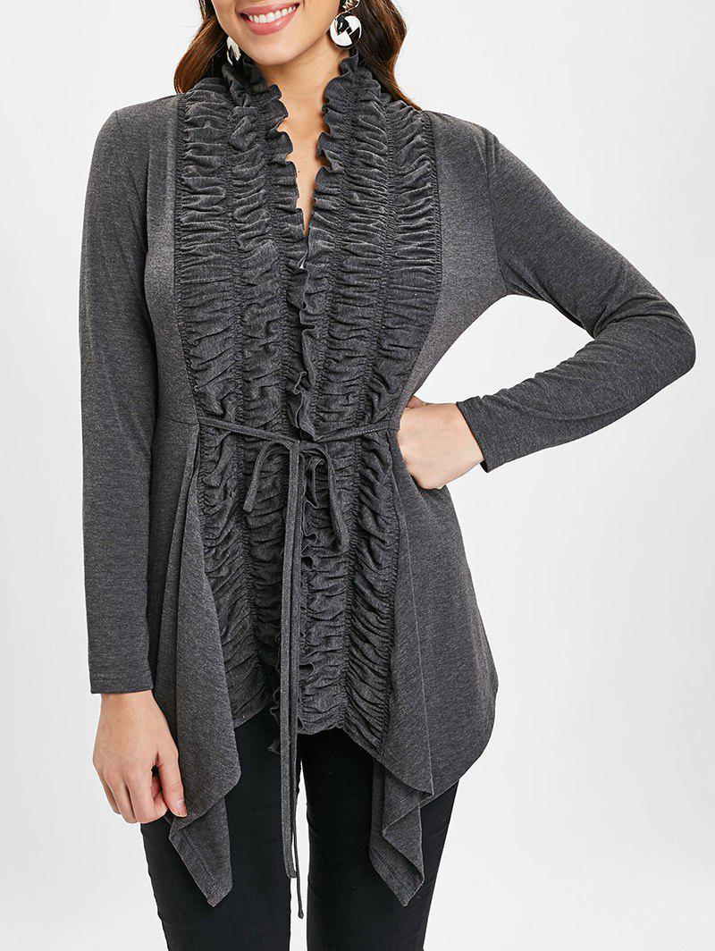 Shops Ruched Tie Front Draped Cardigan
