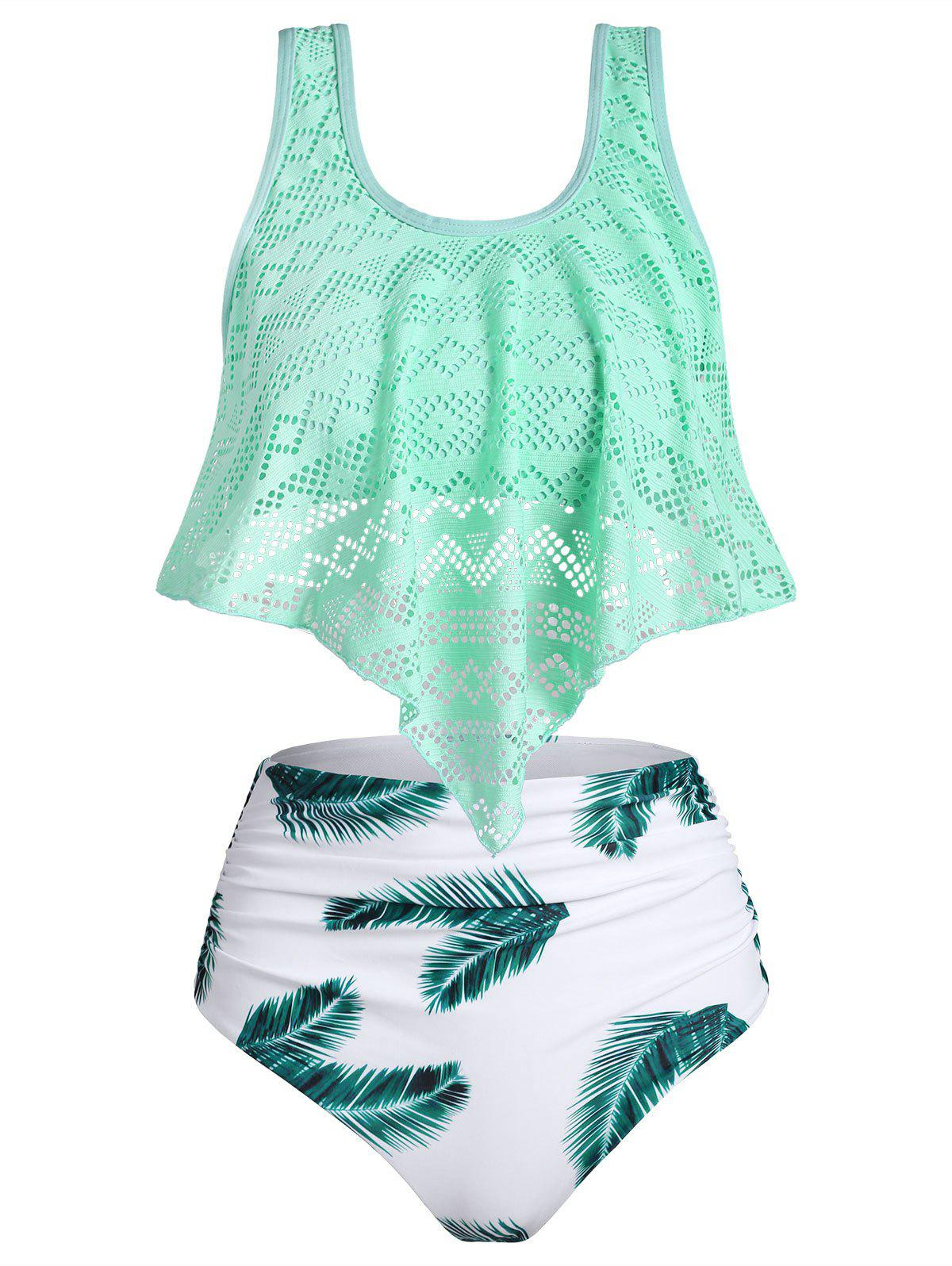 Sale Perforated Founce Leaf Print Ruched Tankini Swimsuit