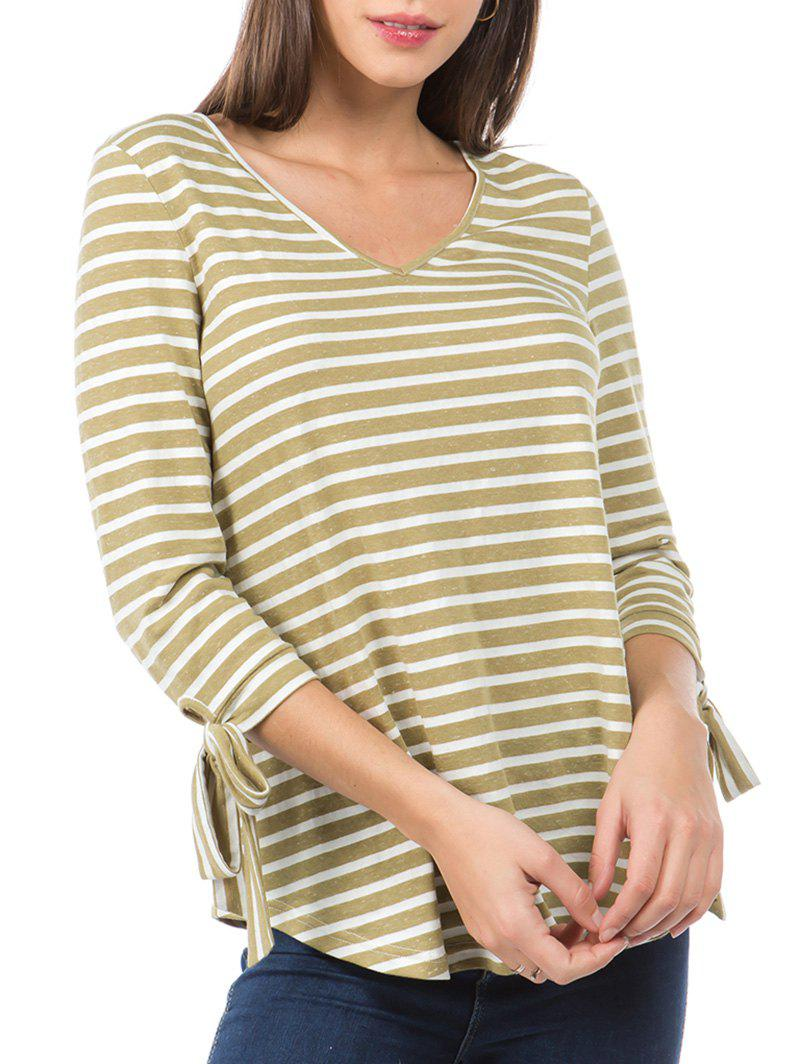 Latest Striped Print Curved Hem Knotted Sleeve T-shirt