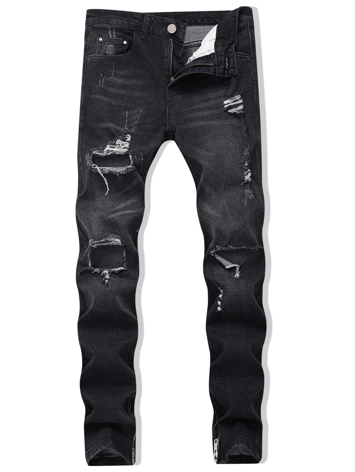 Affordable Destroyed Zipper Skinny Jeans