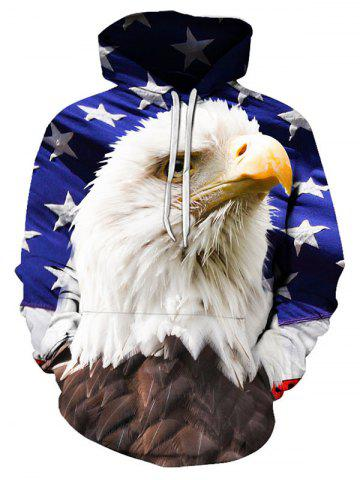 Eagle Print Pouch Pocket Hoodie - MULTI - S