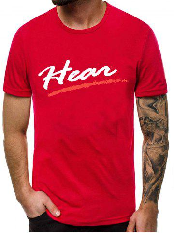 Letter Printed Casual Round Neck T-shirt - RED WINE - S