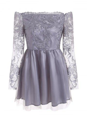 Floral Embroidered Mesh Panel A Line Dress
