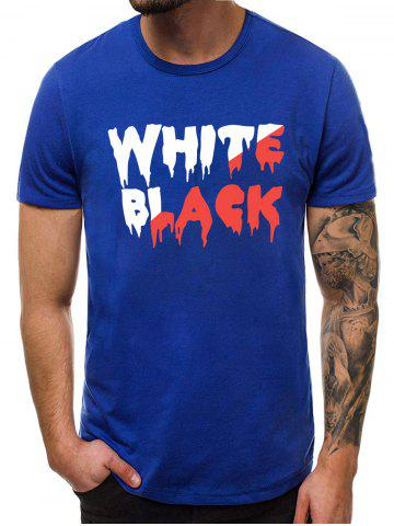 Casual Graphic Pattern Short Sleeves T-shirt - BLUE - L