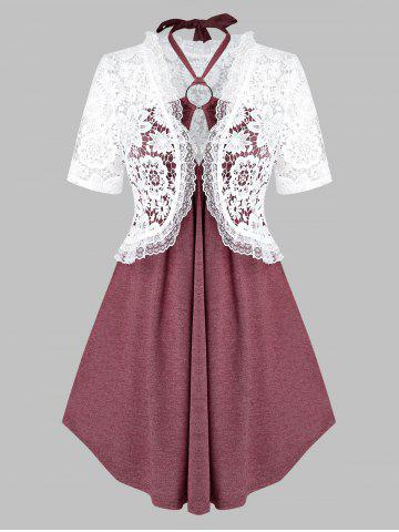 Plus Size Lace Top and Cutout Empire Waist Tank Top Set - RED WINE - 3X