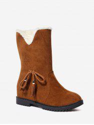 Bowknot Suede Mid Calf Snow Boots -