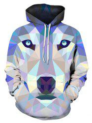 Geometric Animal Print Pocket Hoodie -