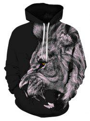 Lion Pattern Pouch Pocket Hoodie -