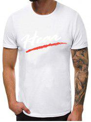 Letter Printed Casual Round Neck T-shirt -