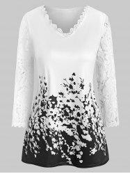 Lace Panel Floral Print V Neck Tee -