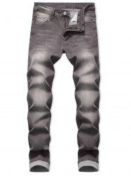 Zip Fly Long Faded Wash Casual Jeans -