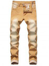 Long Faded Wash Casual Jeans -