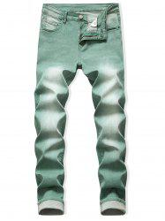 Long Faded Wash Casual Denim Pants -