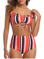 Striped Cinched High Waisted Off The Shoulder Bikini Swimsuit -