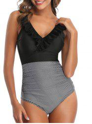 Ruffle Striped Ruched One-piece Swimsuit -